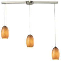 Andover 3 Light 36 inch Satin Nickel Chandelier Ceiling Light in Textured Beige Glass
