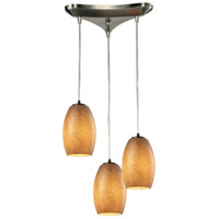 Andover 3 Light 10 inch Satin Nickel Chandelier Ceiling Light in Textured Beige Glass