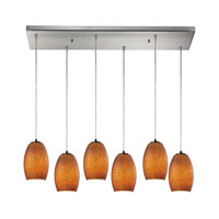 Andover 6 Light 30 inch Satin Nickel Chandelier Ceiling Light in Textured Brown Glass