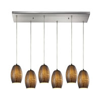 Andover 6 Light 30 inch Satin Nickel Chandelier Ceiling Light in Textured Multi Glass