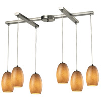 Andover 6 Light 33 inch Satin Nickel Chandelier Ceiling Light in Textured Beige Glass