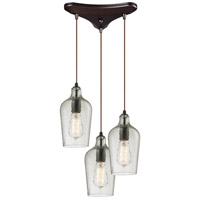 Hammered Glass 3 Light 10 inch Oil Rubbed Bronze Pendant Ceiling Light in Hammered Clear Glass, Triangular Canopy