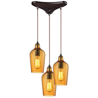 Hammered Glass 3 Light 10 inch Oil Rubbed Bronze Pendant Ceiling Light in Hammered Amber Glass, Triangular Canopy