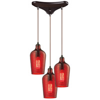 Hammered Glass 3 Light 10 inch Oil Rubbed Bronze Pendant Ceiling Light in Hammered Red Glass, Triangular Canopy