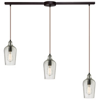ELK Lighting Hammered Glass 3 Light Chandelier in Oil Rubbed Bronze 10331/3L-CLR