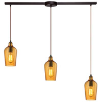ELK 10331/3L-HAMB Hammered Glass 3 Light 36 inch Oil Rubbed Bronze Linear Pendant Ceiling Light in Hammered Amber Glass, Linear with Recessed Adapter