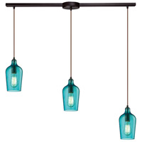 ELK 10331/3L-HAQ Hammered Glass 3 Light 36 inch Oil Rubbed Bronze Linear Pendant Ceiling Light in Hammered Aqua Glass, Linear with Recessed Adapter