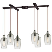 Hammered Glass 6 Light 17 inch Oil Rubbed Bronze Pendant Ceiling Light in Hammered Clear Glass, Light Bar
