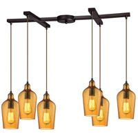 Hammered Glass 6 Light 17 inch Oil Rubbed Bronze Pendant Ceiling Light in Hammered Amber Glass, Light Bar