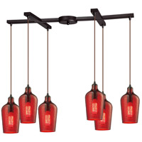 Hammered Glass 6 Light 17 inch Oil Rubbed Bronze Pendant Ceiling Light in Hammered Red Glass, Light Bar
