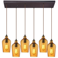 Hammered Glass 6 Light 9 inch Oil Rubbed Bronze Pendant Ceiling Light in Hammered Amber Glass, Rectangular Canopy