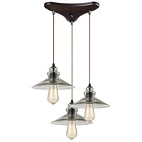 ELK 10332/3 Hammered Glass 3 Light 10 inch Oil Rubbed Bronze Pendant Ceiling Light in Triangular Canopy