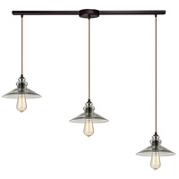 ELK 10332/3L Hammered Glass 3 Light 36 inch Oil Rubbed Bronze Linear Pendant Ceiling Light in Linear with Recessed Adapter