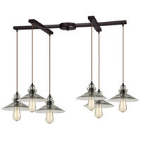 Hammered Glass 6 Light 17 inch Oil Rubbed Bronze Pendant Ceiling Light in Light Bar