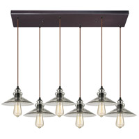 Hammered Glass 6 Light 9 inch Oil Rubbed Bronze Pendant Ceiling Light in Rectangular Canopy