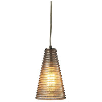 Ribbed Glass 1 Light 6 inch Satin Nickel Pendant Ceiling Light