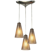 Ribbed Glass 3 Light 10 inch Satin Nickel Pendant Ceiling Light in Triangular Canopy