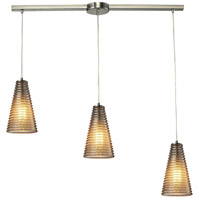 ELK 10333/3L Ribbed Glass 3 Light 36 inch Satin Nickel Linear Pendant Ceiling Light in Linear with Recessed Adapter
