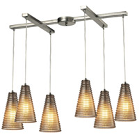 Ribbed Glass 6 Light 33 inch Satin Nickel Chandelier Ceiling Light