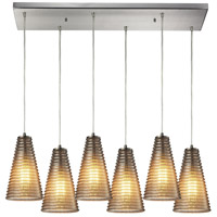 Ribbed Glass 6 Light 9 inch Satin Nickel Pendant Ceiling Light in Rectangular Canopy