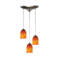Caliente 3 Light 10 inch Satin Nickel Chandelier Ceiling Light