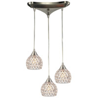 Kersey 3 Light 10 inch Satin Nickel Pendant Ceiling Light in Triangular Canopy