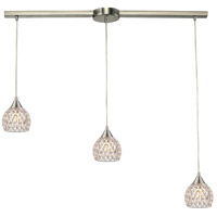 ELK 10341/3L Kersey 3 Light 5 inch Satin Nickel Mini Pendant Ceiling Light in Linear with Recessed Adapter, Linear