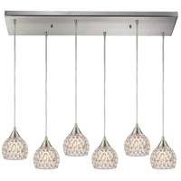 Kersey 6 Light 9 inch Satin Nickel Pendant Ceiling Light in Rectangular Canopy