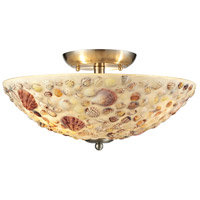 Shells 3 Light 16 inch Satin Nickel Semi Flush Ceiling Light