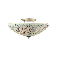 ELK Lighting Glass Mosaic 3 Light Semi Flush in Polished Chrome with Multicolor Glass 10418/3