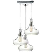 ELK 10422/3 Orbital 3 Light 10 inch Polished Chrome Pendant Ceiling Light in Triangular Canopy