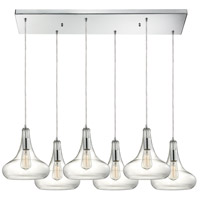 ELK 10422/6RC Orbital 6 Light 9 inch Polished Chrome Pendant Ceiling Light in Rectangular Canopy