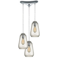 ELK 10423/3 Orbital 3 Light 10 inch Polished Chrome Pendant Ceiling Light in Triangular Canopy