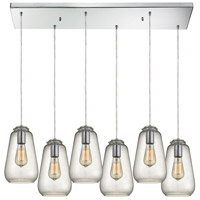 ELK 10423/6RC Orbital 6 Light 9 inch Polished Chrome Pendant Ceiling Light in Rectangular Canopy