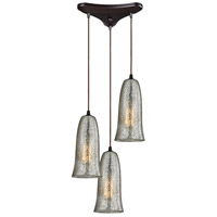 ELK 10431/3HME Hammered Glass 3 Light 10 inch Oil Rubbed Bronze Pendant Ceiling Light in Hammered Mercury Glass, Triangular Canopy