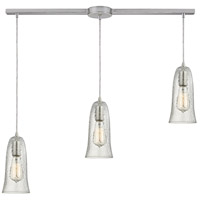 Hammered Glass 3 Light 36 inch Satin Nickel Linear Pendant Ceiling Light in Hammered Clear Glass, Linear with Recessed Adapter