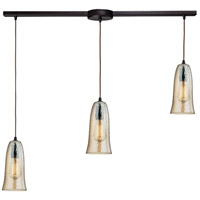 Hammered Glass 3 Light 36 inch Oil Rubbed Bronze Linear Pendant Ceiling Light in Hammered Amber Plated Glass, Linear with Recessed Adapter