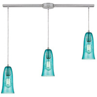 Hammered Glass 3 Light 36 inch Satin Nickel Linear Pendant Ceiling Light in Hammered Aqua Glass, Linear with Recessed Adapter