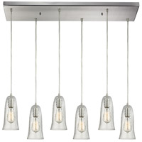 Hammered Glass 6 Light 9 inch Satin Nickel Pendant Ceiling Light in Hammered Clear Glass, Rectangular Canopy