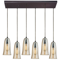 ELK 10431/6RC-HAMP Hammered Glass 6 Light 9 inch Oil Rubbed Bronze Mini Pendant Ceiling Light in Hammered Amber Plated Glass Rectangular Canopy