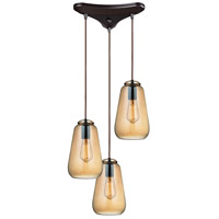 ELK 10433/3 Orbital 3 Light 10 inch Oil Rubbed Bronze Pendant Ceiling Light in Triangular Canopy