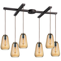 ELK 10433/6 Orbital 6 Light 17 inch Oil Rubbed Bronze Pendant Ceiling Light in Light Bar