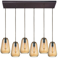 ELK 10433/6RC Orbital 6 Light 9 inch Oil Rubbed Bronze Pendant Ceiling Light in Rectangular Canopy