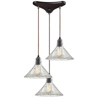 Hand Formed Glass 3 Light 10 inch Oil Rubbed Bronze Pendant Ceiling Light