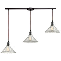 Hand Formed Glass 3 Light 36 inch Oil Rubbed Bronze Pendant Ceiling Light