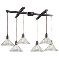 Hand Formed Glass 6 Light 33 inch Oil Rubbed Bronze Pendant Ceiling Light