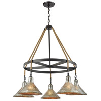 Hand Formed Glass 5 Light 36 inch Oil Rubbed Bronze Chandelier Ceiling Light in Standard