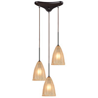 ELK 10439/3 Calipsa 3 Light 12 inch Oil Rubbed Bronze Pendant Ceiling Light in Incandescent, Triangular Canopy