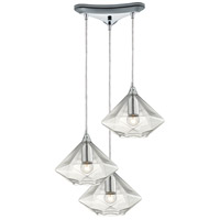 ELK 10440/3 Geometrics 3 Light 10 inch Polished Chrome Pendant Ceiling Light in Triangular Canopy