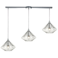 ELK 10440/3L Geometrics 3 Light 36 inch Polished Chrome Linear Pendant Ceiling Light in Linear with Recessed Adapter